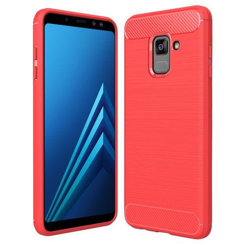 Flexi Carbon Fibre Texture Case for Samsung Galaxy A8 (2018) - Red